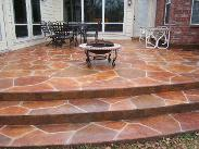 Stamped Overlay With Rock Pattern and Waterbased Stain